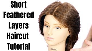 Short Feathered Layers Haircut Tutorial - TheSalonGuy