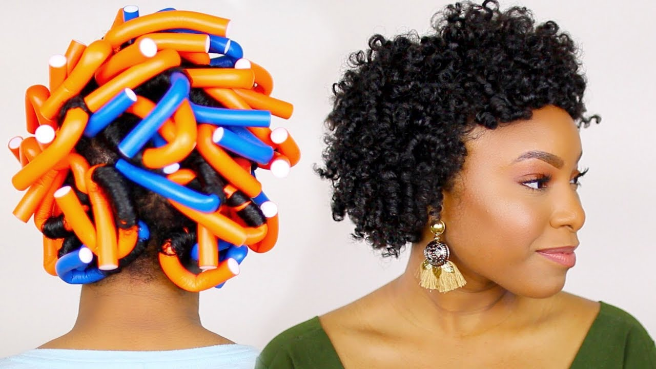 How To Flexi Rod Set On Short Medium Natural Hair Tutorial Type 4