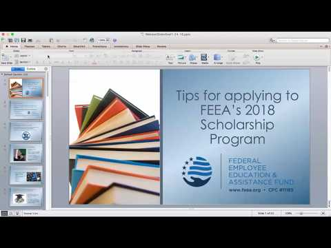FEEA 2018 Scholarship Program Tips (video starts @ .49 seconds)