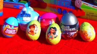 7 Surprise Eggs Fun Disney Princess Transformers Party Animals Easter Eggs Toys Like Kinder Surprise