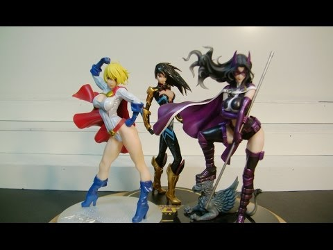 DC Comics Bishoujo POWER GIRL, HUNTRESS and Ame Comi DONNA TROY Wonder Girl Statue review