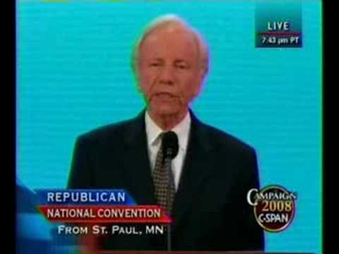 Joe Lieberman Speech @ 2008 Rep Convention pt 1