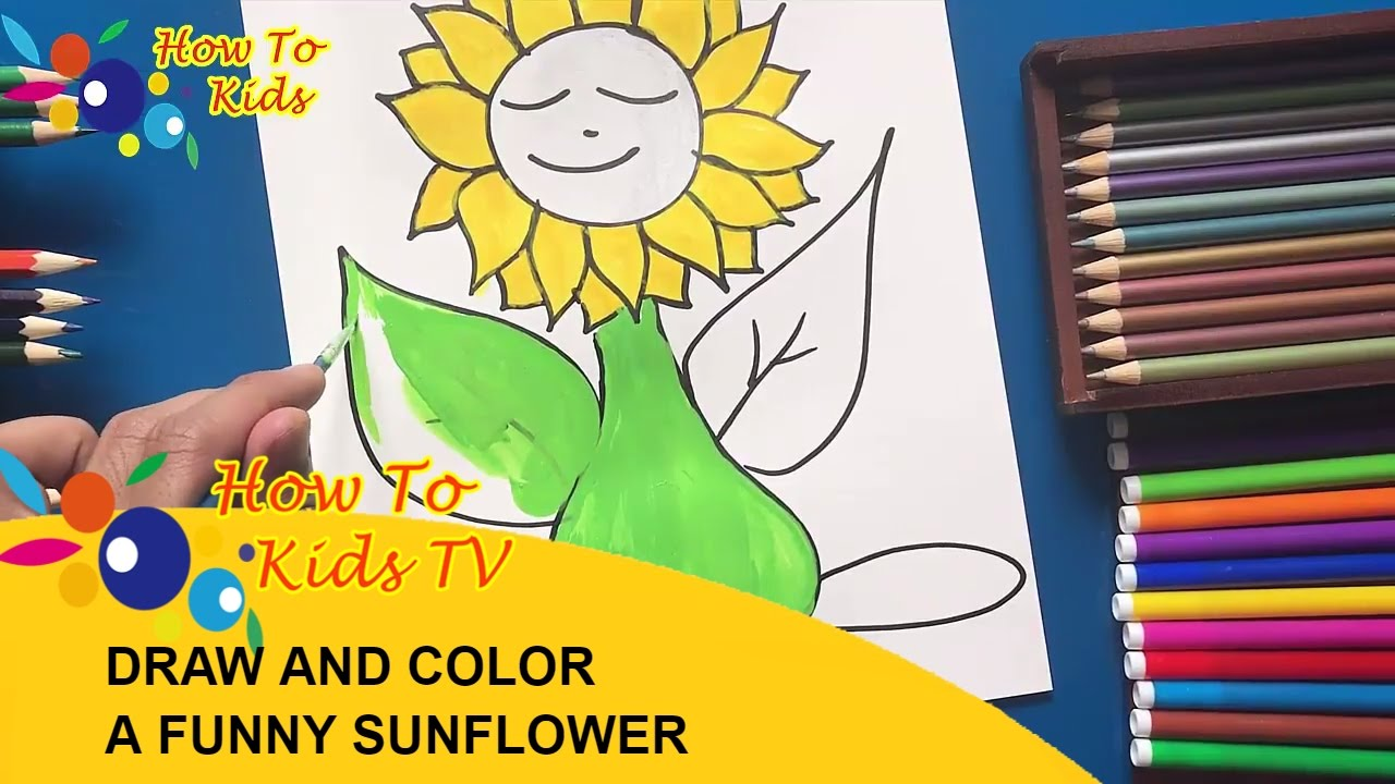 how to draw and color a funny sunflower with water color teaching
