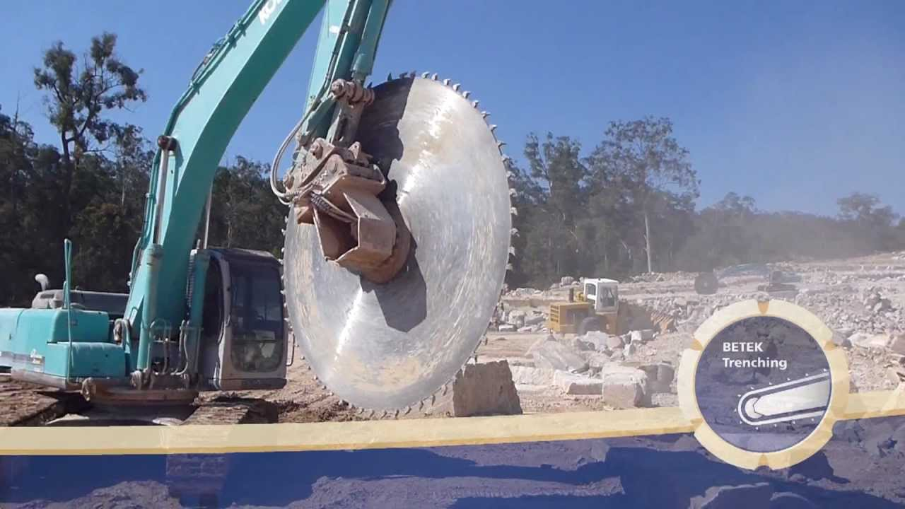Betek Trenching Block Cutter Excavator Attachement Saw Blade Youtube