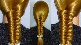 Косичка Рыбий хвост. Причёска для средних, длинных волос.Плетение кос.Причёски для девочек в школу