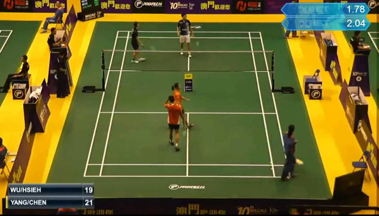 BADMINTON Macau Open 2015 R32 XD Hsiao Lin WU HSIEH Pei Chen vs