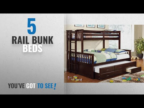 Top 10 Rail Bunk Beds [2018]: Furniture Of America Pammy Twin Over Queen Bunk Bed, Espresso