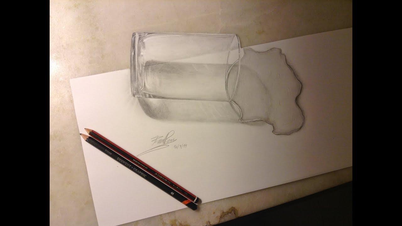 Dibujo 3D  Vaso con agua  Federico Vigevani  YouTube