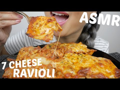 SEVEN CHEESE RAVIOLI PASTA | ASMR *NO Talking Eating Sounds | N.E ASMR