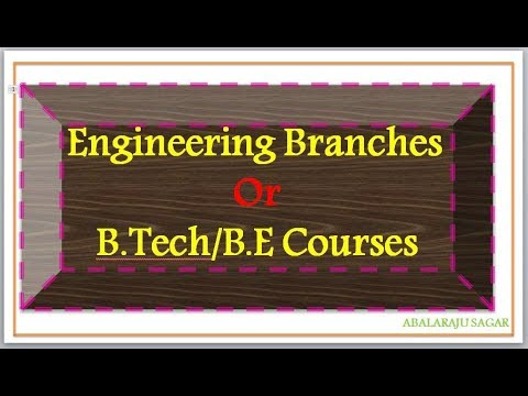 Engineering Courses | B Tech Branches| types of engineering courses