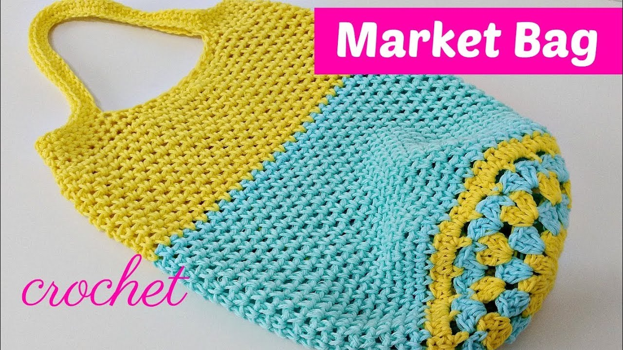 Como tejer bolso a crochet para hacer compras - YouTube