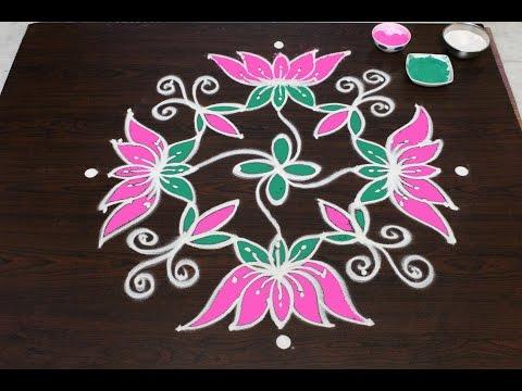 sankranthi flower kolam designs with 9x6 dots|| pongal kolam design s || easy rangoli designs
