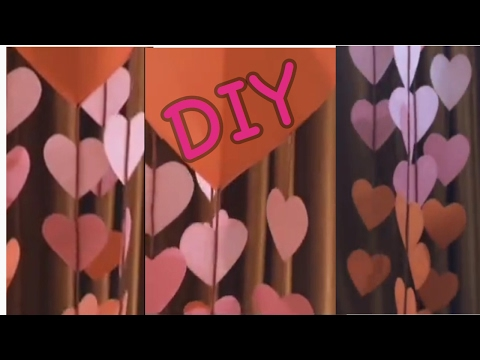 DIY Valentine Decore | How to make wind chime style valentine decore | valentine heart wall hanging
