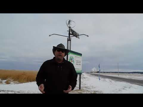 Hybrid Wind/Solar Off Grid Streetlight Poles on Green Energy Adventures with The Turbine Guy
