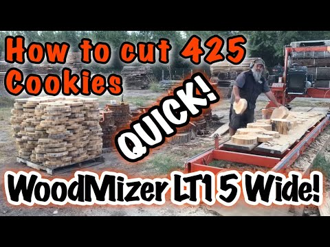 DIY Cookie wall cutting on WoodMizer LT15 Wide Head sawmill, Cypress Cookies for wall decorations