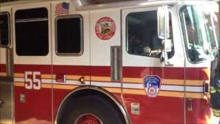 FDNY Ladder 55 In House Visit with Rescue 3 Passing By
