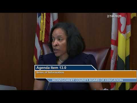 MCPS Board of Education Day Business Meeting 02/10/2020