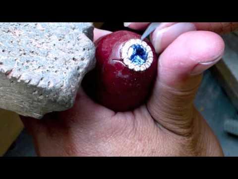 2.2 Carat Round Blue Sapphire Engagement Ring