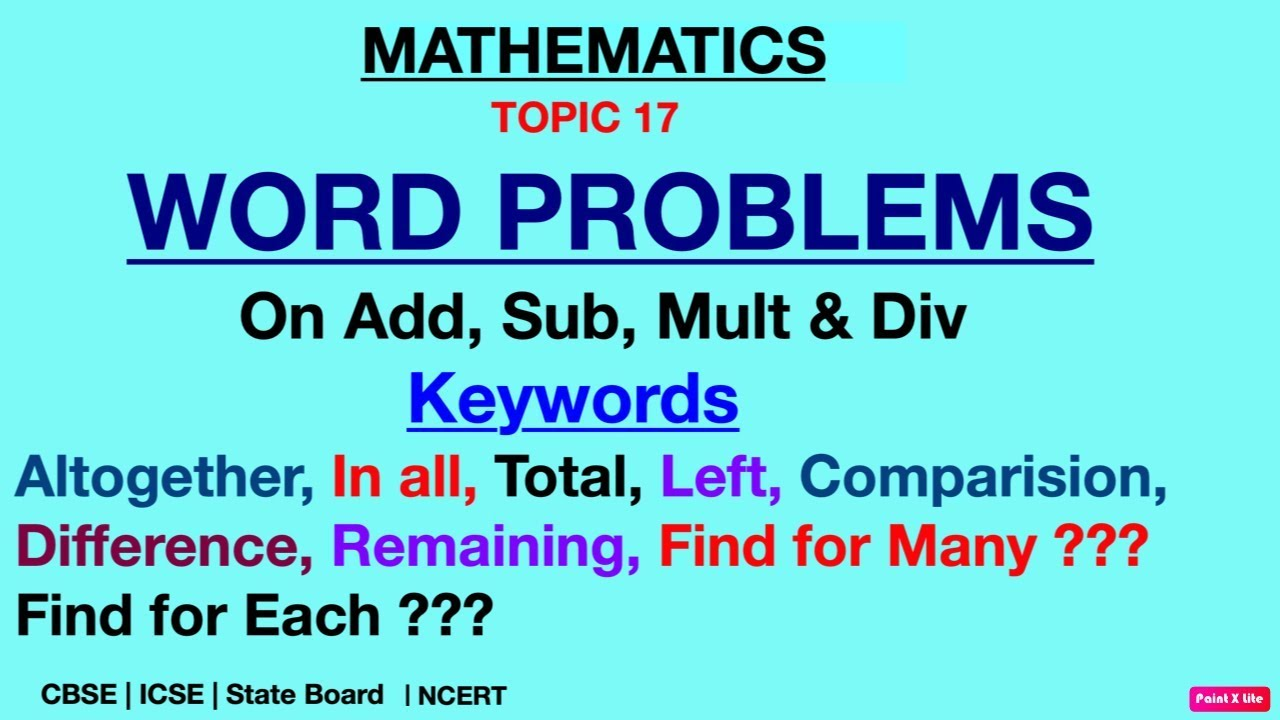 Word Problems On Addition Subtraction Multi Divi Short Keywords Word Problems Social Studies For Kids English Exam Papers Addition word problems for grade cbse