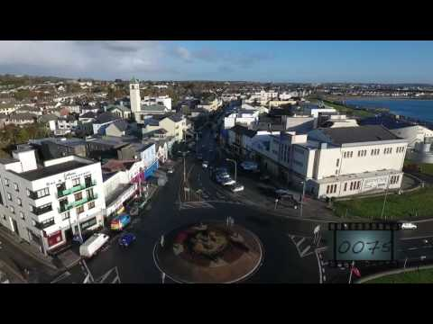 Galway city & Salthill aerial stock footage
