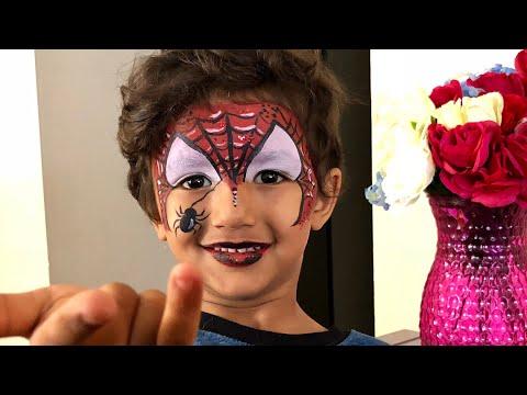رسم رجل العنكبوت على الوجه سبيدر مان Spider Man Face Paint فقرة مواهبي Youtube