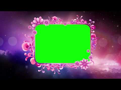 Green Flower Frame Background | Green Screen Background | Cloud Animation Green Frame