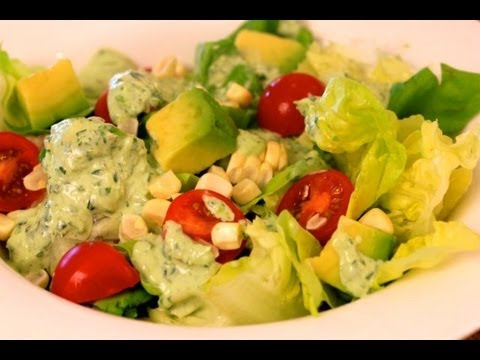Butter Lettuce Salad With Basil Infused Green Goddess Dressing
