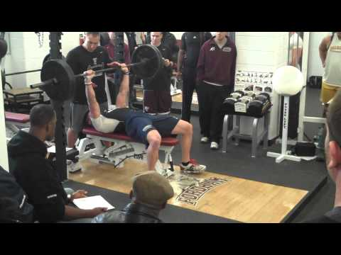 DeFrancosGym.com: Chris Hogan Bench Presses 225 x 28 @ NFL Pro Day!