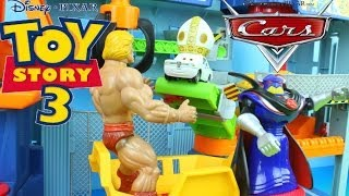 disney pixar cars mater he man save the pope from toy story s big baby toy stoy 3 landfill playset