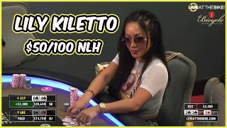 Lily Kiletto Plays High Stakes $50/100 NLH! (Full Episode) ♠ Live at the Bike!