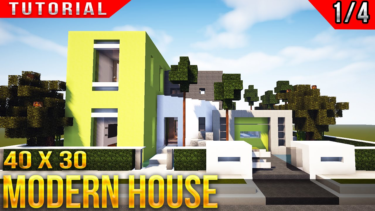 Minecraft 40x30 Modern House Tutorial Part 1 Of 4 Youtube
