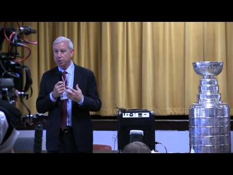 Chicago Blackhawks', John F. McDonough speaks to Leo Catholic High School