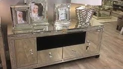 Diamond Glitz Mirrored Large TV Stand