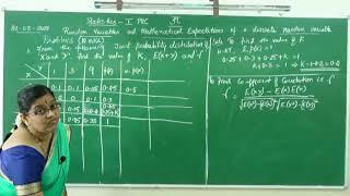 I PUC/ STATISTICS/ RANDOM VARIABLES AND MATHEMATICAL EXPECTATIONS-11