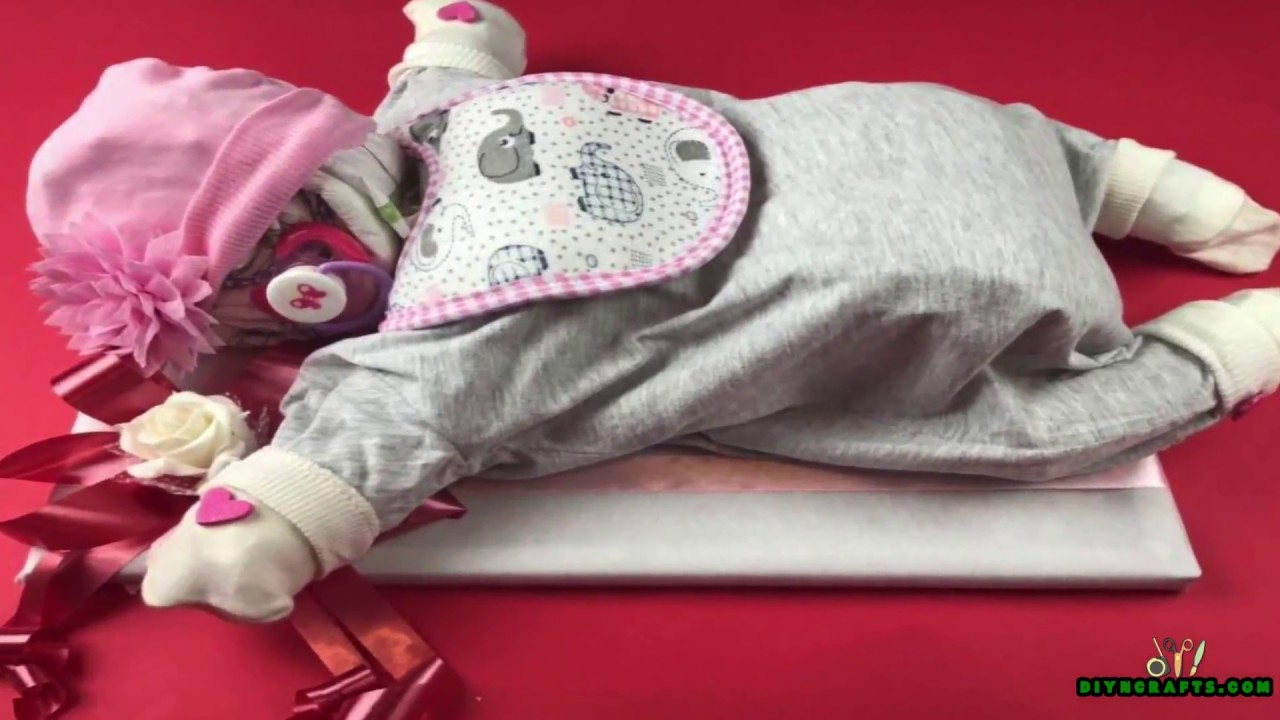 How To Make A Cute Sleeping Baby Out Of Diapers Baby Shower Gift
