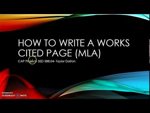 How to Write a Works Cited Page in MLA Format