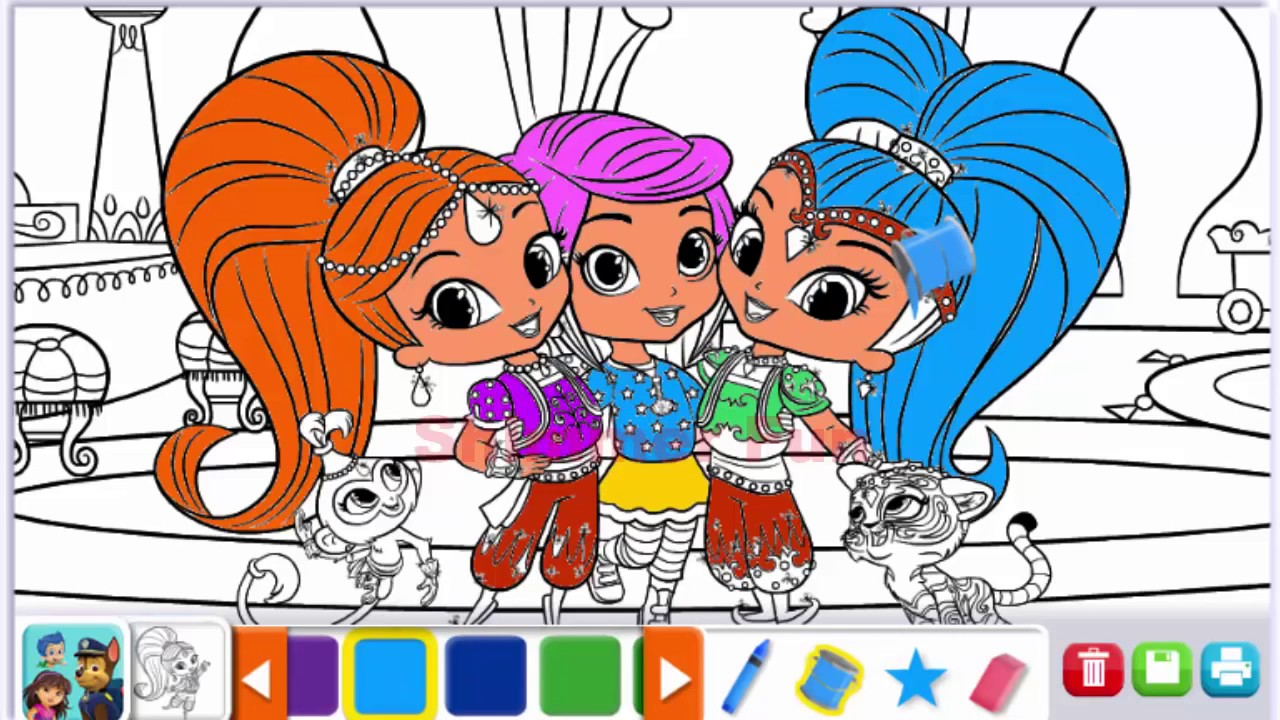 Shimmer And Shine Coloring Book Full Episodes Cartoon For Kids 2016
