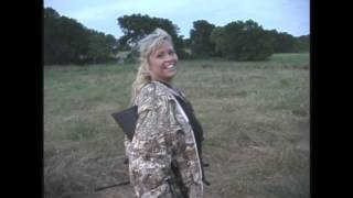 Lady Hog hunter headshoots two Texas feral hogs hunting with Glenn Guess