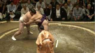20120909 大相撲9月場所初日 魁聖vs把瑠都 把瑠都初日 黒星.