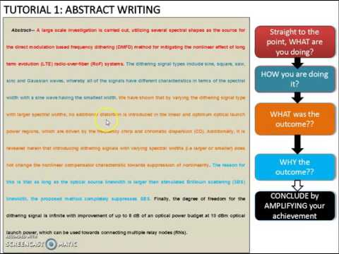 Tutorial 1: How To Write An Abstract??