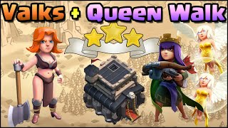 Valkyrie + Archer Queen walk TH9 War Attack Strategy! Clash of Clans - Live TH9 War Attacks