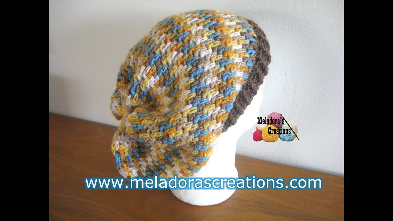 b559cdcb842 Thick Mesh Slouch Hat - Revised Edition - Crochet Tutorial - YouTube