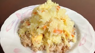 #177-1 Mashed Potato Salad With Rice - 으깬 감자 샐러드 덮밥