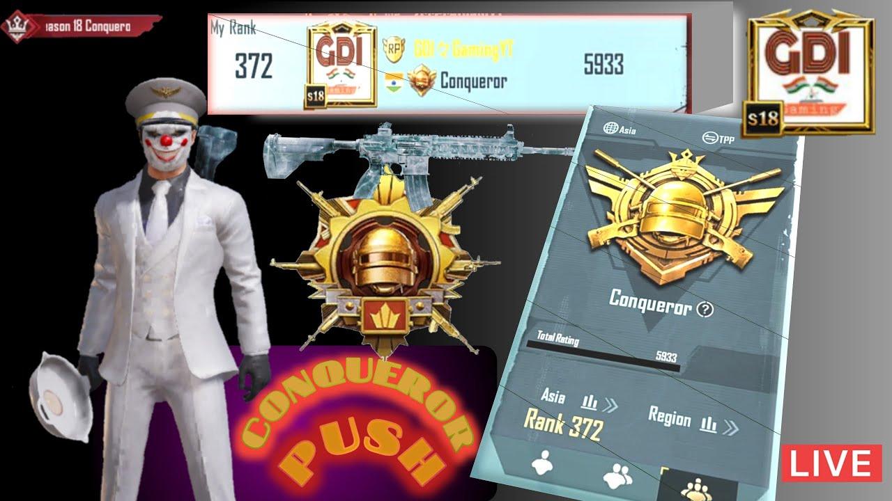 BGMI    C1-S2 Live  Conqueror push     GDI Gaming    Battlegrounds Mobile India