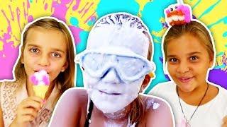 Ayça ve Sema ile yoğurt yarışması ve dondurma yapımı. Kız oyunları.