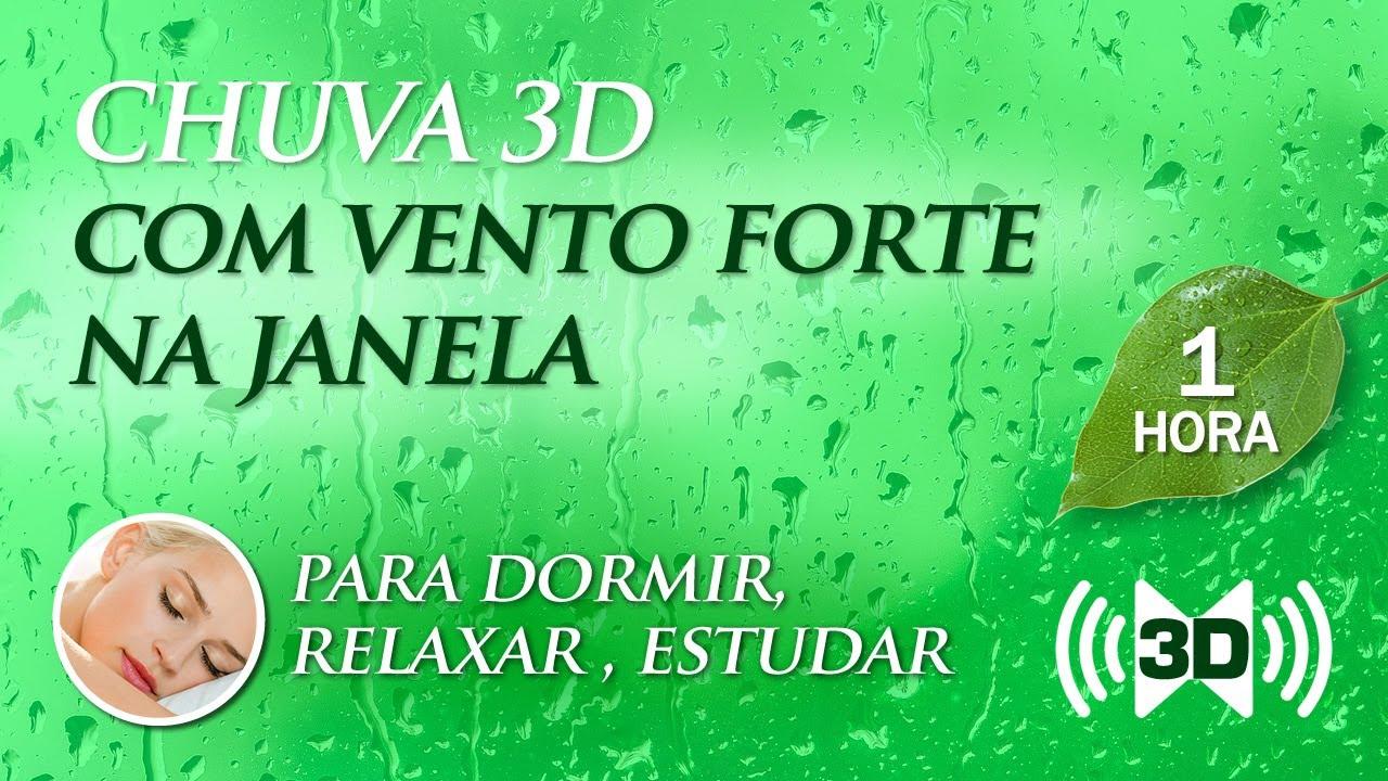 Barulho de CHUVA 3D com VENTO FORTE na Janela - Música para Dormir