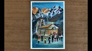 Kedarnath Temple Painting | With Acrylic Paints | Art Lesson