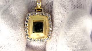 Hip Hop Jewelry | .925 Sterling Silver Gold Gem Style CZ Pendant MSP949G
