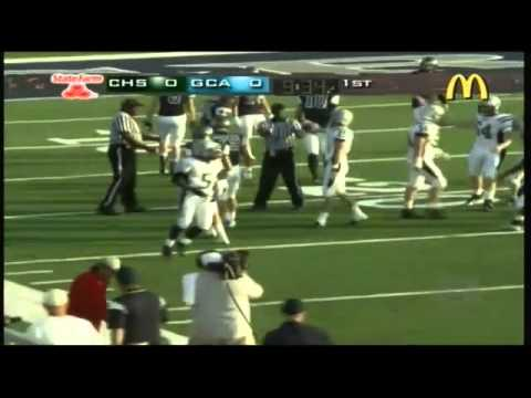 Hank Black of Carter High catches a 43 yard pass from Ryan Kirkland