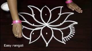 creative rangoli art designs for beginners  with 5 dots * simple kolam designs with dots * muggulu